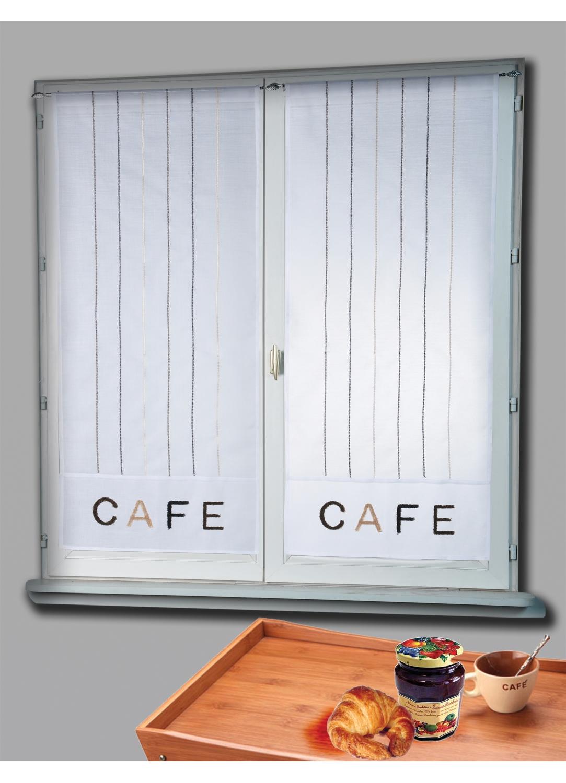 Paire de Vitrage Etamine Brodée Café (Blanc)