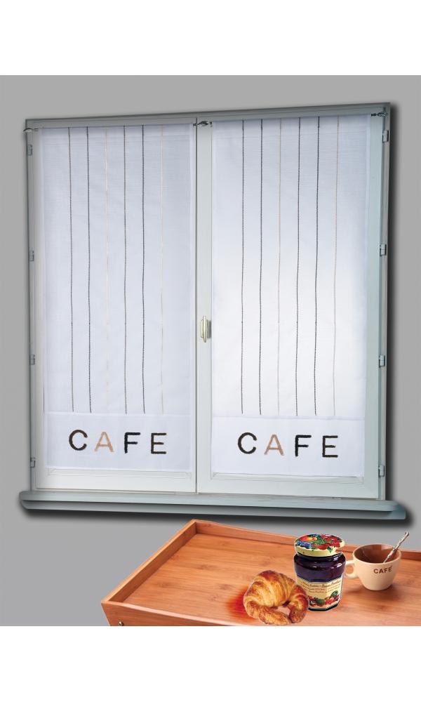 paire de vitrage etamine brod e caf blanc homemaison. Black Bedroom Furniture Sets. Home Design Ideas