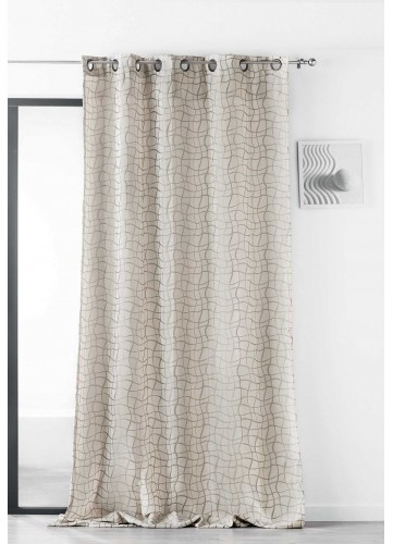 Rideau impression de Vaguelettes quadrillées - Beige - 135 x 260 cm