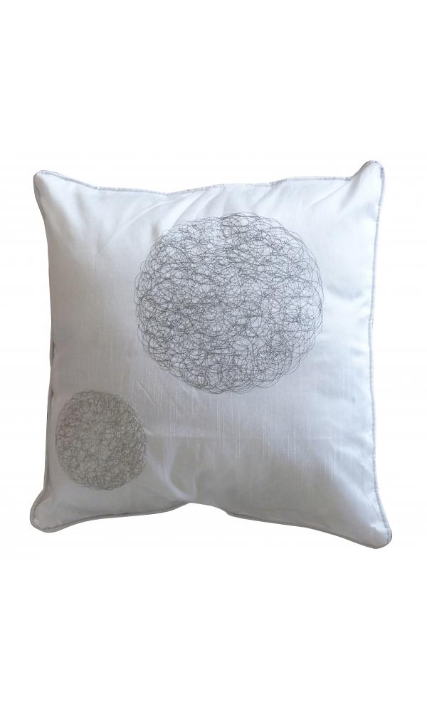 Coussin Blanc en Shantung avec Motifs 'Ronds Mêlés' (Blanc)