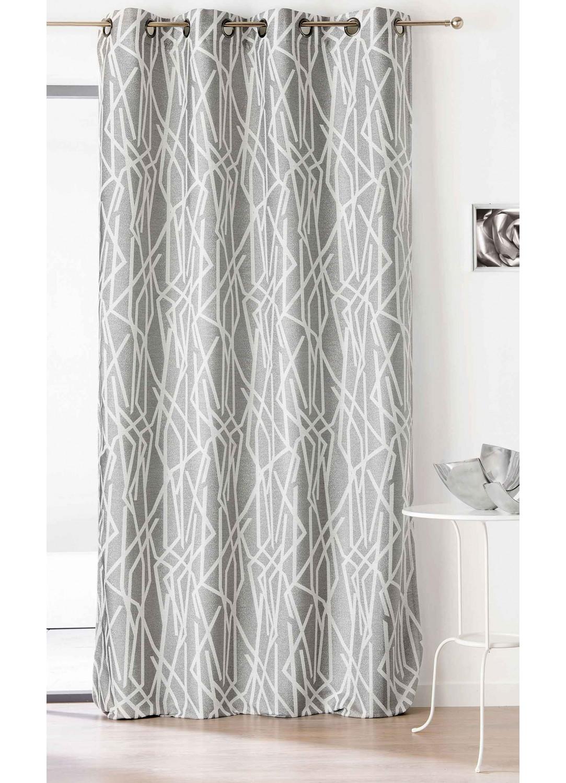 Rideau esprit graphique gris gris homemaison vente en ligne tous les rideaux for Rideau graphique