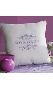 Housse de Coussin Brodé 'Bonheur'