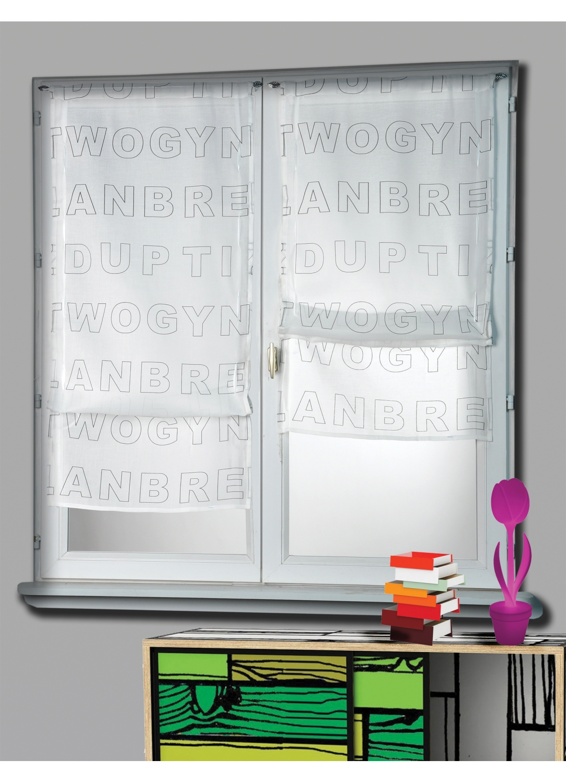 paire de vitrage etamine remonter imprim blanc homemaison vente en ligne petits. Black Bedroom Furniture Sets. Home Design Ideas