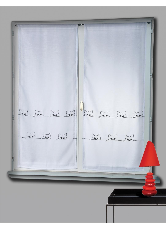 paire de vitrage etamine brod e chats blanc homemaison vente en ligne petits voilages vitrages. Black Bedroom Furniture Sets. Home Design Ideas