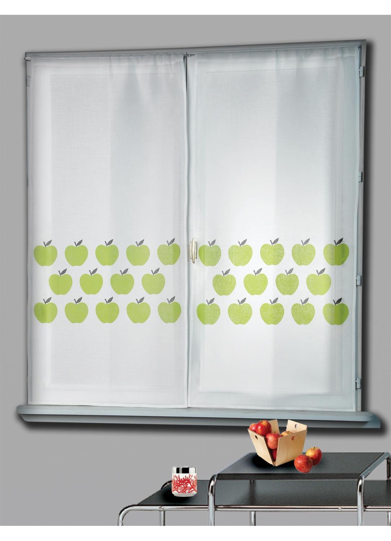 Paire de Vitrage Etamine Imprimé Pommes (Ivoire)