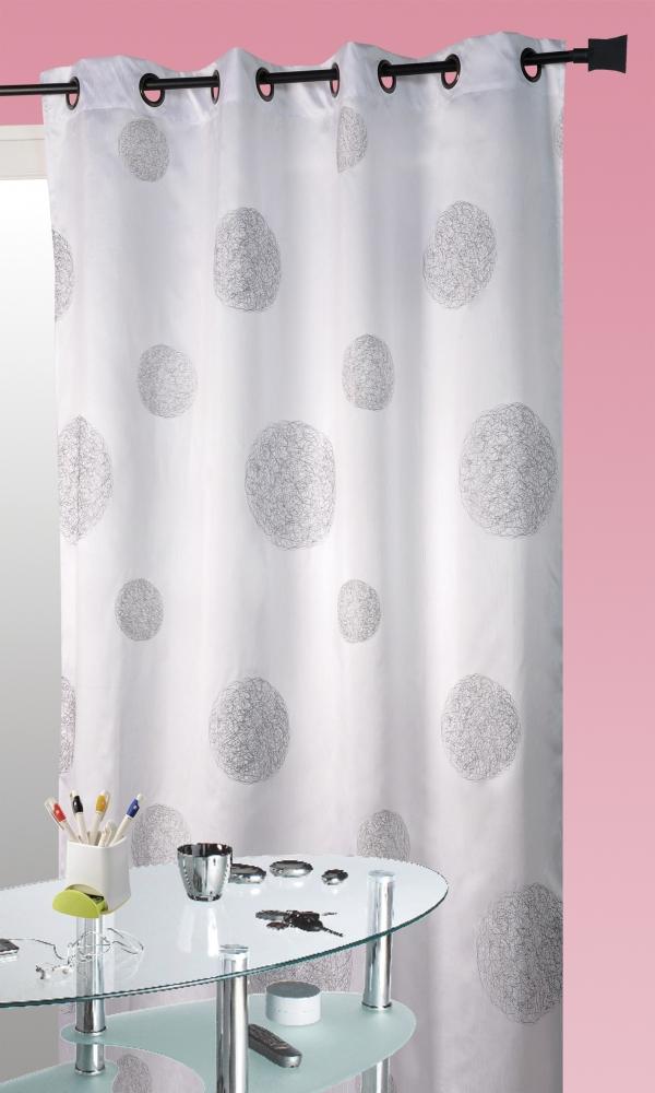 Rideau Blanc en Shantung Brodé 'Ronds Mêlés' - Blanc - 140 x 260cm