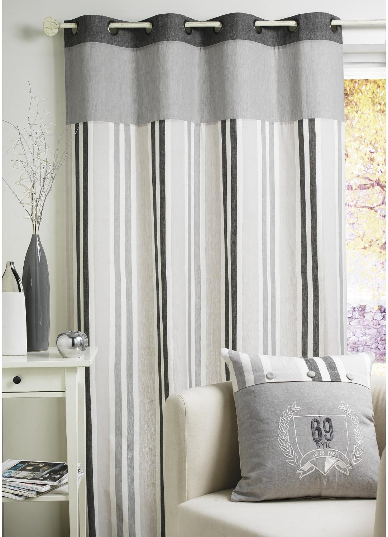 rideau coton rayures et parement uni gris homemaison vente en ligne rideaux. Black Bedroom Furniture Sets. Home Design Ideas