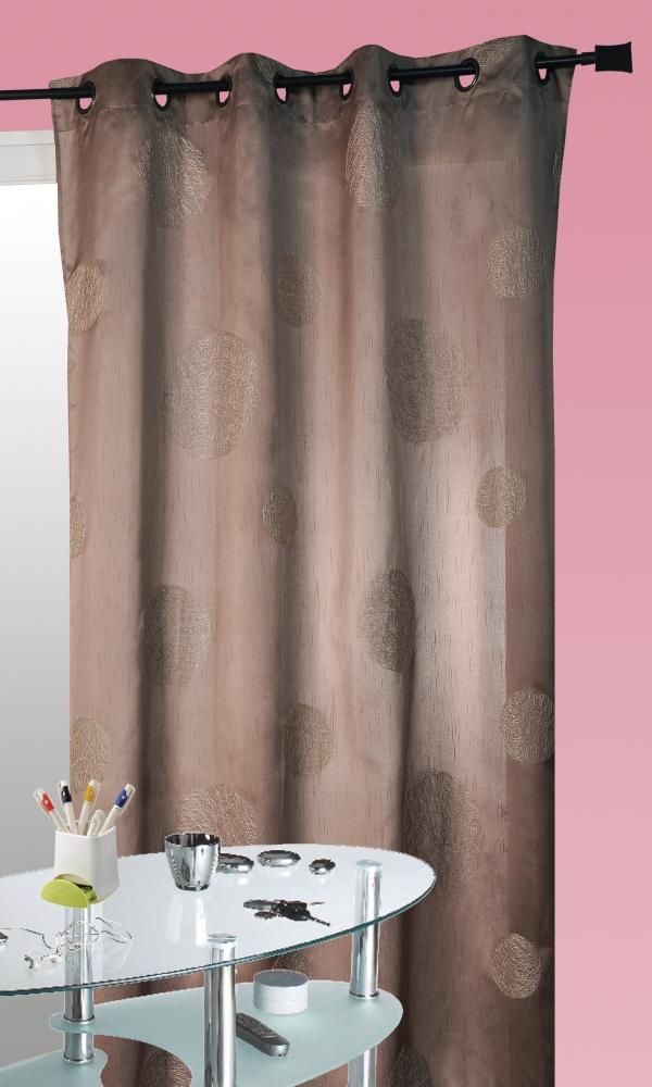 Rideau Taupe en Shantung Brodé 'Ronds Mêlés' - Taupe - 140 x 260cm