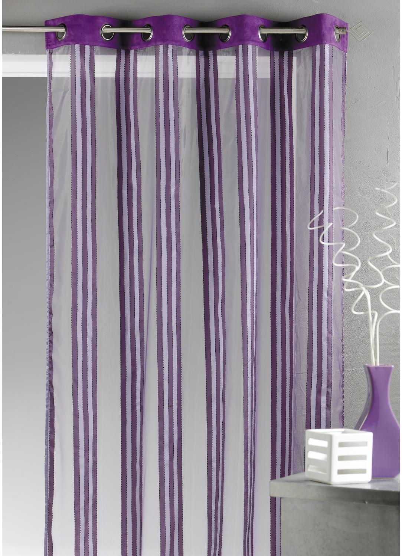 voilage en organza rayures verticales prune blanc bordeaux beige homemaison vente. Black Bedroom Furniture Sets. Home Design Ideas