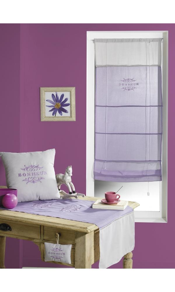 Store en Voile de coton brodé 'Bonheur' (Lilas)