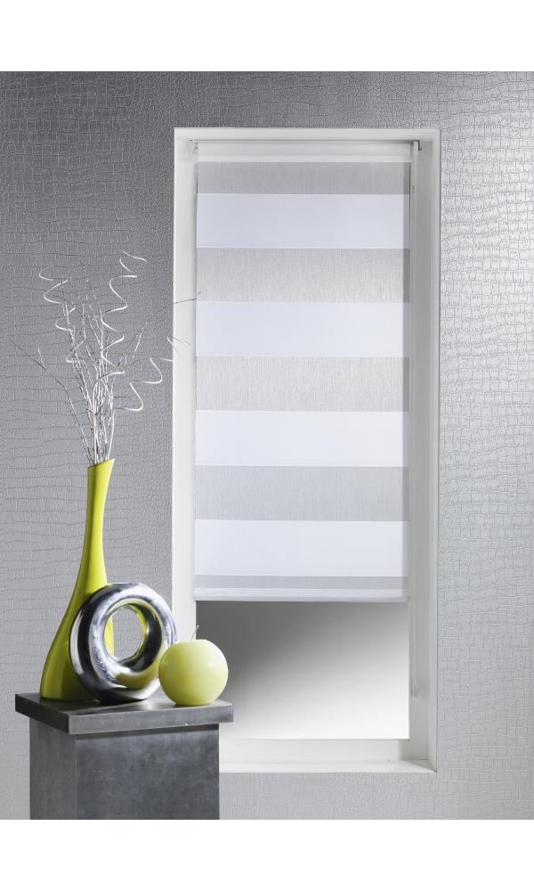 Store Enrouleur Prêt à Poser Rayures Horizontales (Blanc)
