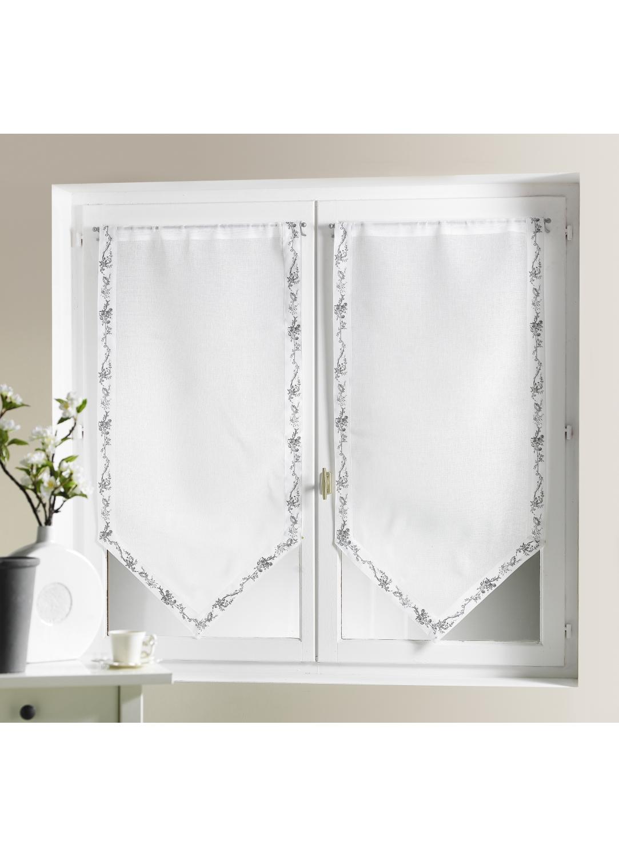 Visillo bordes impresos florido blanco cortina casa for Cortina visillo blanco