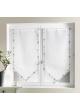 Vitrage bordures imprimées fleurie Blanc