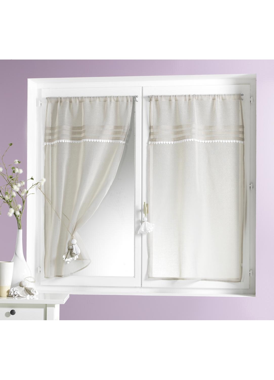 Vitrage de charme en etamine lin blanc homemaison vente en ligne petits voilages vitrages - Voilage vitrage sur mesure ...