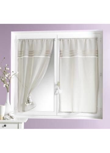 Visillo en estame a encanto blanco lino cortina for Cortina visillo blanco