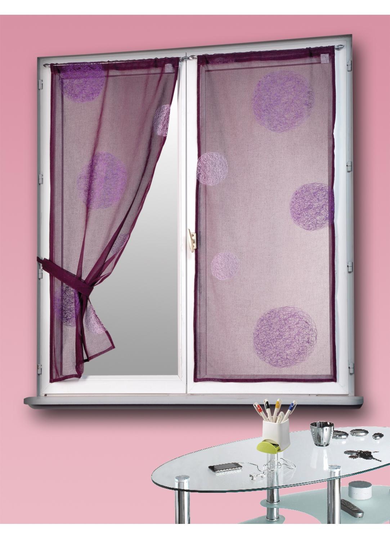 vitrage prune brod ronds m l s prune homemaison vente en ligne petits voilages vitrages. Black Bedroom Furniture Sets. Home Design Ideas