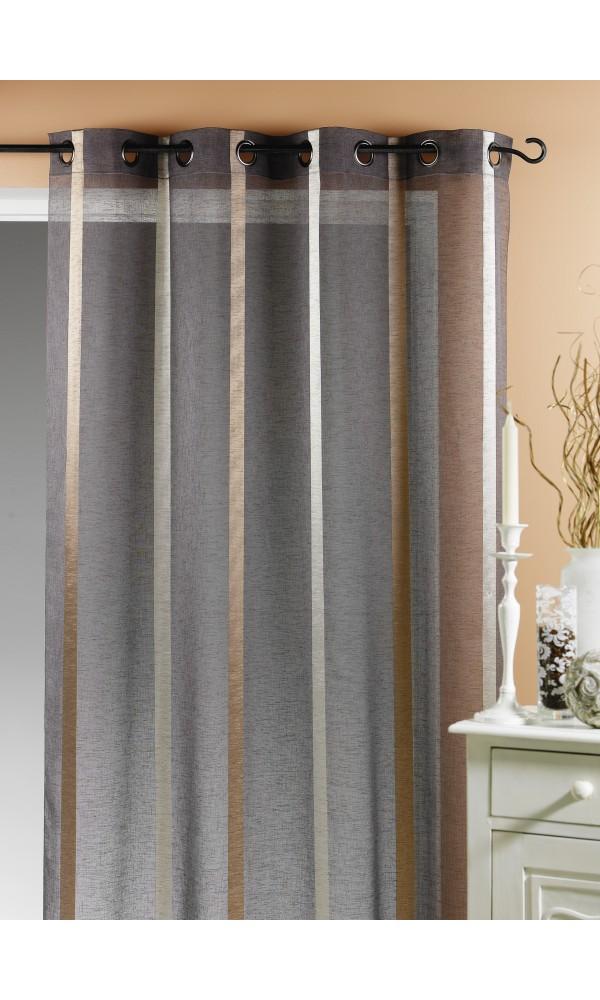 voilage etamine rayures verticales taupe blanc lin gris homemaison vente en ligne. Black Bedroom Furniture Sets. Home Design Ideas