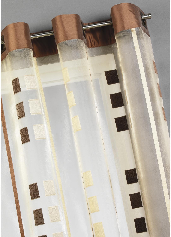 Voilage organza gros carrés et parement taffetas (Beige)