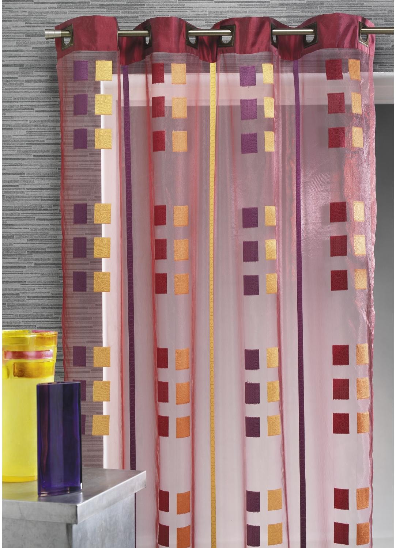 Voilage organza gros carrés et parement taffetas (Bordeaux)