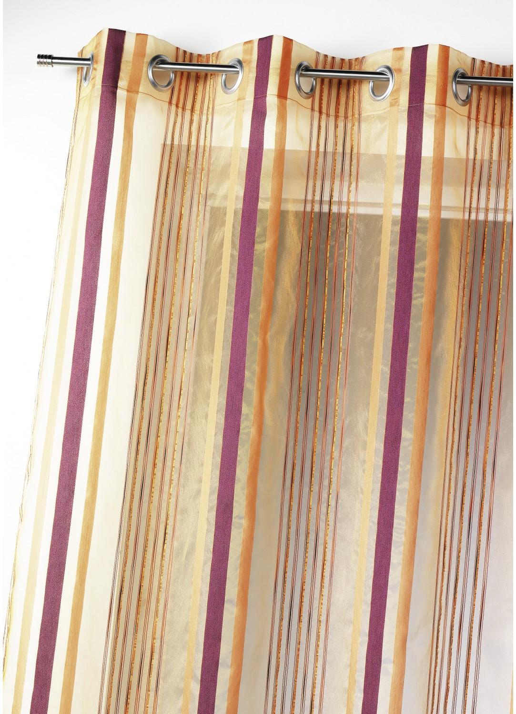 Voilage organza tissé rayures verticales (Orange)