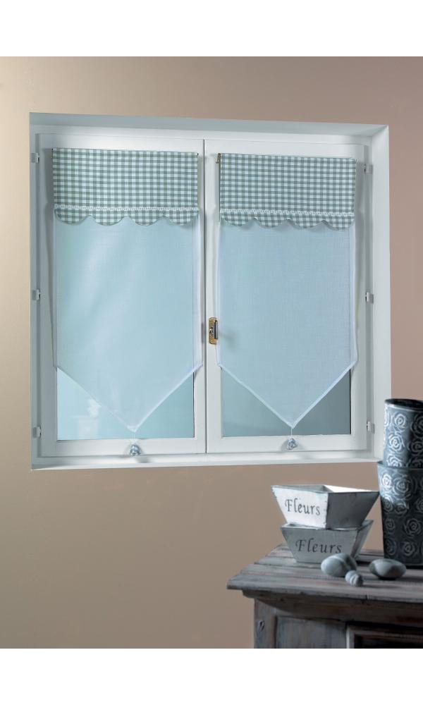 paire de voilage vitrage avec parement vichy bouchara gris homemaison vente en ligne. Black Bedroom Furniture Sets. Home Design Ideas