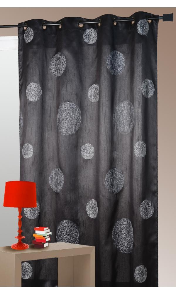 Rideau noir en Shantung Brodé 'Ronds Mêlés' - Noir - 140 x 260cm