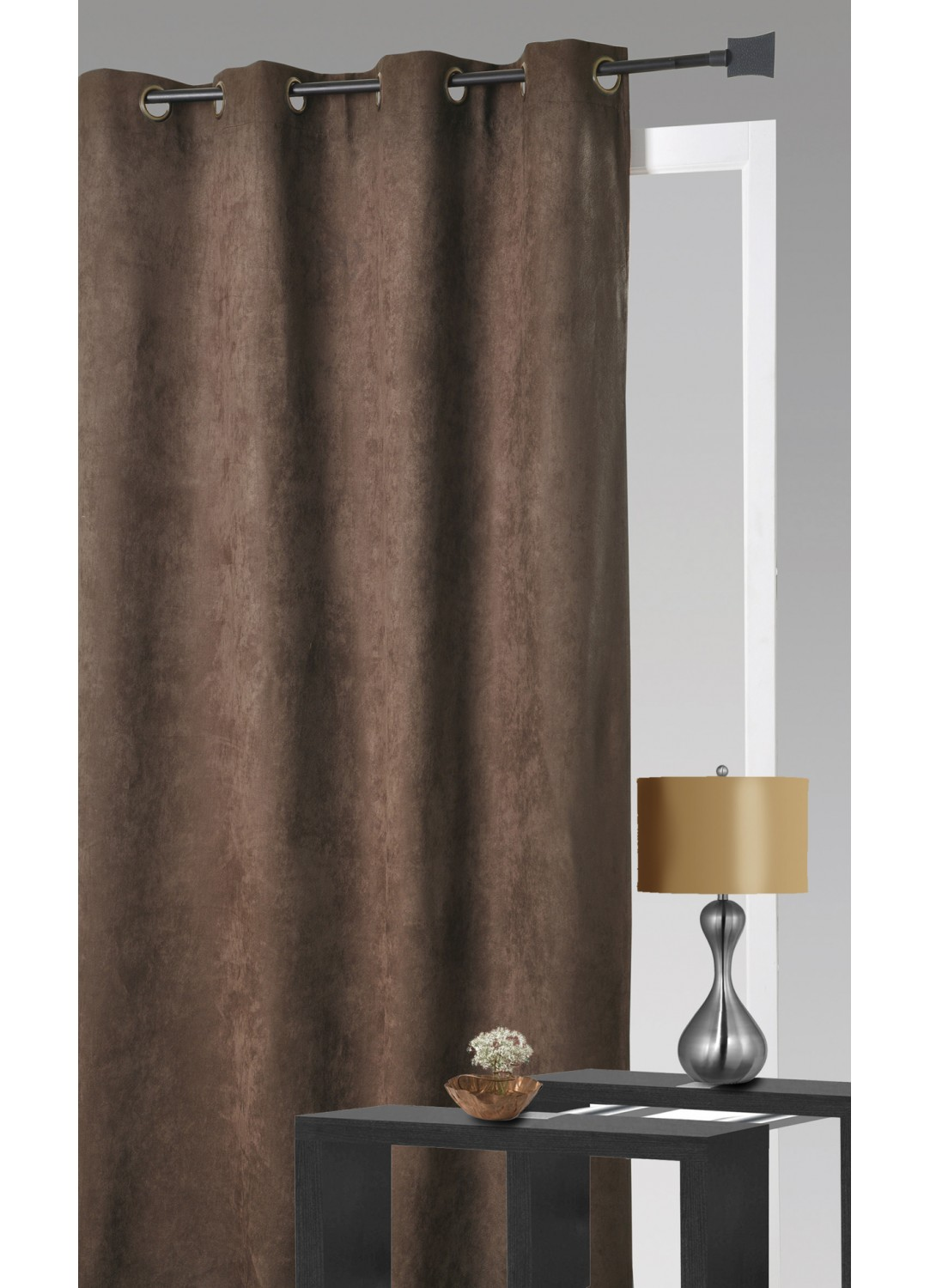 rideau doubl occultant et face su dine unie chocolat figue beige taupe gris. Black Bedroom Furniture Sets. Home Design Ideas
