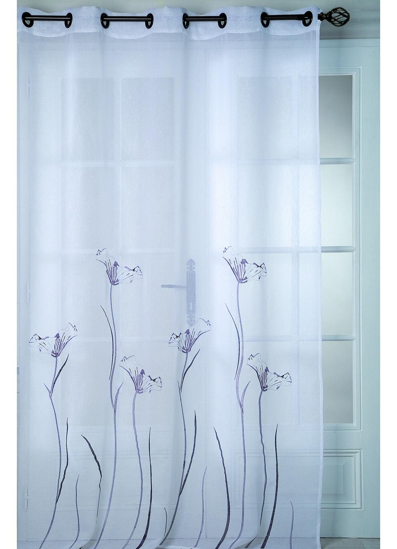 Voilage en Etamine bordé 'Fleurs' (Blanc)