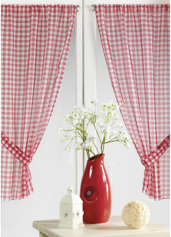 Par de visillos a cuadros rojos normandos rojo cortina for Visillos para cocina confeccionados
