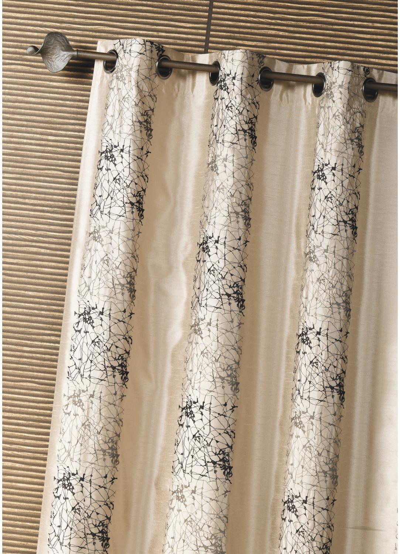 rideau d ameublement shantung brod motif thnique beige argent piment homemaison. Black Bedroom Furniture Sets. Home Design Ideas