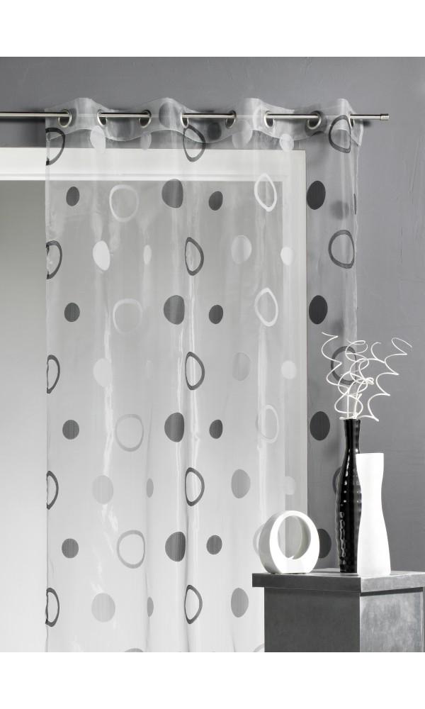 voilage organza jacquard aux motifs cercles gris figue blanc turquoise beige. Black Bedroom Furniture Sets. Home Design Ideas
