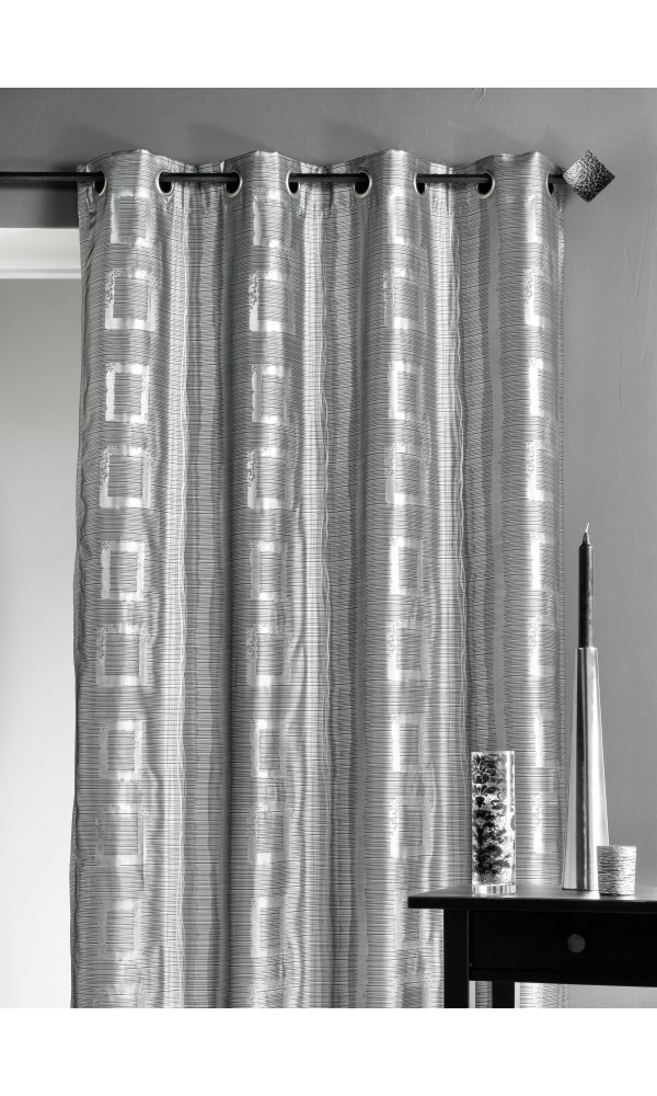 rideau d ameublement argent motifs carr s gris homemaison vente en ligne rideaux. Black Bedroom Furniture Sets. Home Design Ideas