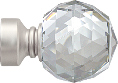 Paire d'Embouts 'crystal' pour barre Ø 28 mm (Nickel)