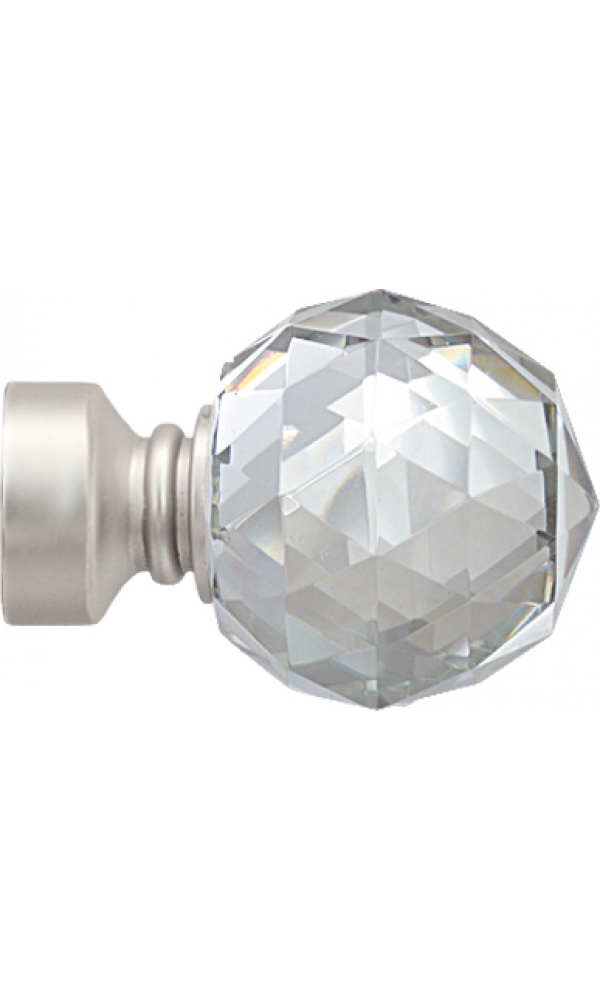 Paire d embouts crystal pour barre 28 mm nickel - Embout tringle rideau ...