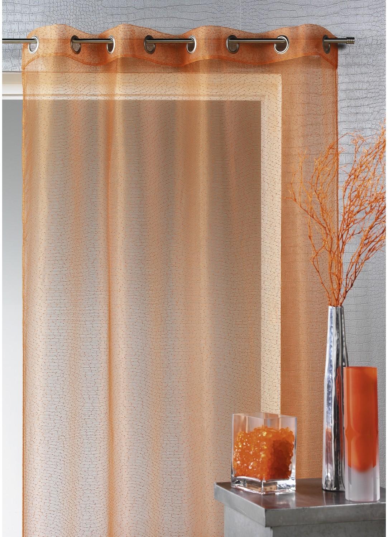 Voilage organza à fines rayures horizontales (Orange)