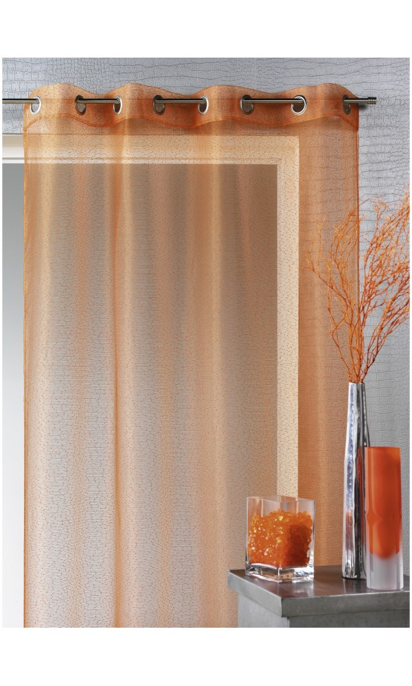 voilage organza fines rayures horizontales orange achat voilages. Black Bedroom Furniture Sets. Home Design Ideas