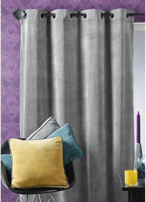 rideau d ameublement en velours uni gris figue bleu p trole bordeaux beige. Black Bedroom Furniture Sets. Home Design Ideas