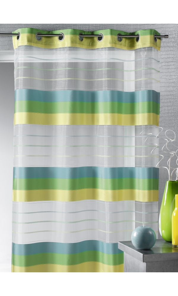Voilage organza aux rayures horizontales (Bambou)