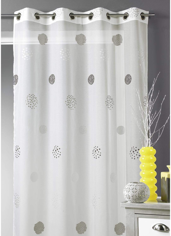 voilage en jacquard avec des cercles en motifs gris homemaison vente en ligne voilages. Black Bedroom Furniture Sets. Home Design Ideas