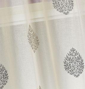 Paire de vitrage en étamine à motifs brodés (Taupe)