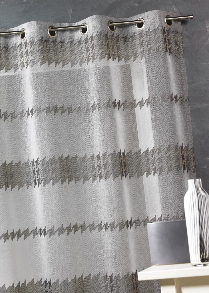 Voilage en étamine à rayures chenilles  (Taupe)