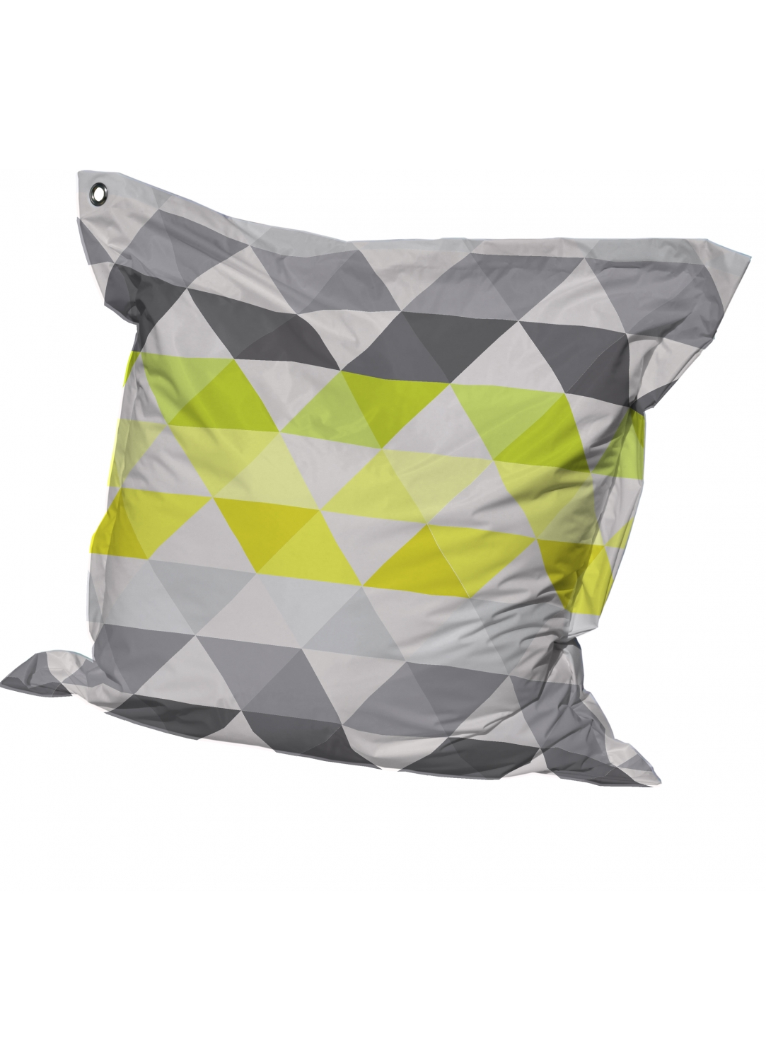 Big Coussin inter/exter 'Triangles' avec Oeillet (Anis)