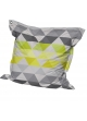 Big Coussin inter/exter 'Triangles' avec Oeillet Anis