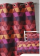 Rideau ameublement Jacquard 'triangles'  Bordeaux
