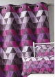 Rideau ameublement Jacquard 'triangles'  Prune