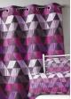 Rideau ameublement Jacquard 'triangles'  Prune