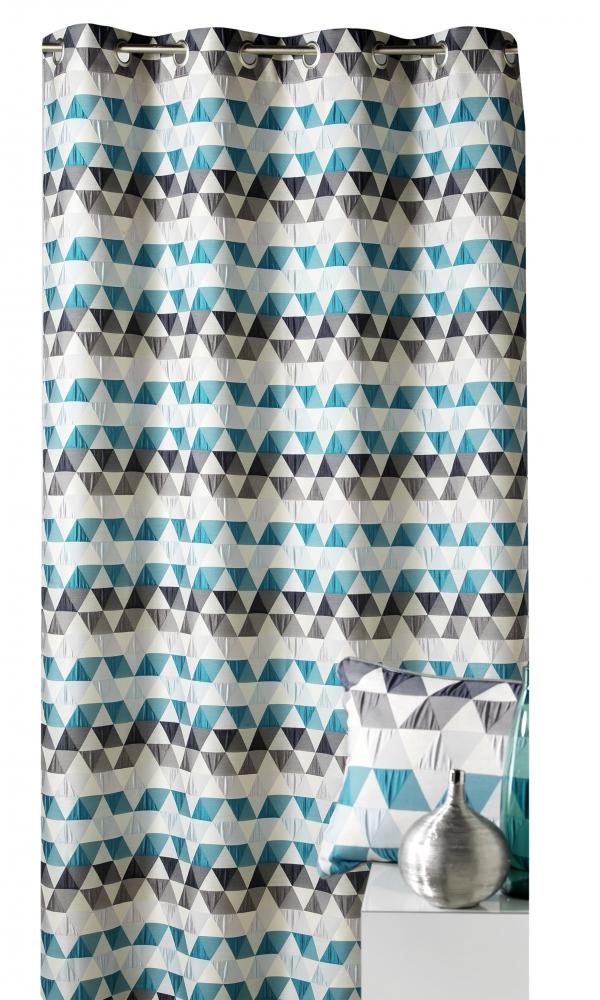 Rideau d'ameublement motifs triangles - Bleu Pétrole - 140 X 260