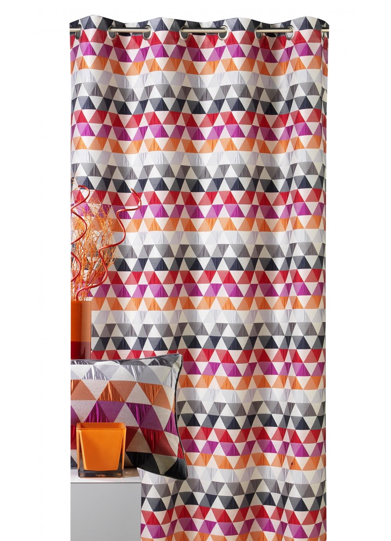 Rideau d'ameublement motifs triangles (Mandarine)
