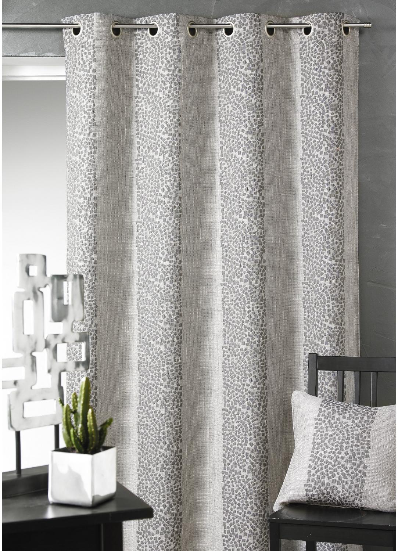 Rideau d ameublement en jacquard rayures gris naturel prune bois de rose for Petit rideau gris