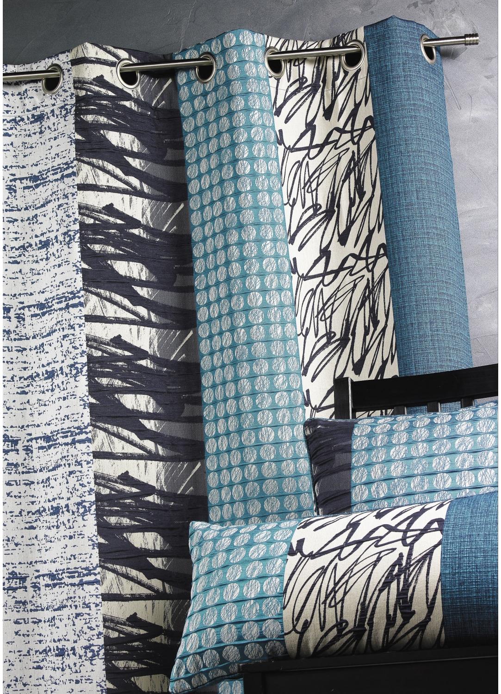 rideau jacquard rayures verticales bleu p trole ivoire bambou parme piment. Black Bedroom Furniture Sets. Home Design Ideas
